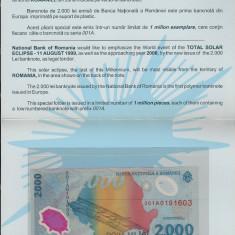Bancnote Romanesti - FOLDER BANCNOTA ECLIPSA - 2000 LEI