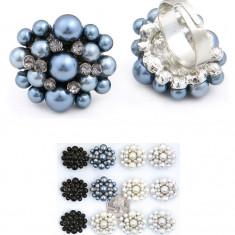 Inel cu Perle si Pietricele Decorative - Inel fashion