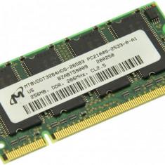 Memorie RAM laptop Micron, DDR, 256 MB - Memorie laptop 256MB DDR1 266 MHz (PC2100) Micron MT8VDDT3264HDG-265B3, SODIMM 200 pini