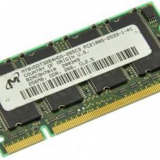 Memorie RAM laptop Micron, DDR, 256 MB - Memorie laptop 256MB DDR1 266 MHz (PC2100) Micron MT8VDDT3264HDG-265C3, SODIMM 200 pini