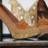 Pantofi 2 culori (maro si bej)  piele intoarsa