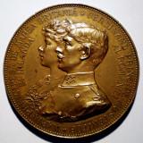 5.055 ROMANIA MEDALIE LOGODNA FERDINAND SI MARIA 1892 SCHARFF 50 mm