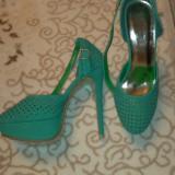 Platforme turcoaz - Sandale dama, Marime: 39, Piele sintetica