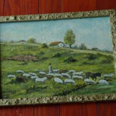 Tablou cu rama din lemn - Pictura semnata - peisaj - Cioban cu turma de oi !!!