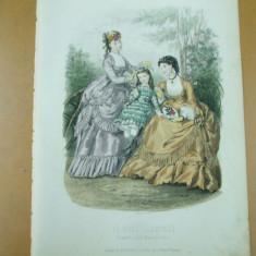 Revista moda - Moda costum rochie palarie evantai copil gravura color La mode illustree Paris 1869