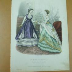 Revista moda - Moda costum rochie evantai gravura color La mode ilustree Paris 1868