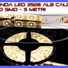 Iluminat decorativ ZDM - ROLA BANDA 300 LED - LEDURI SMD 3528 ALB CALD 3000K (ALBA, ALBE) - 5 METRI, IMPERMEABILA (WATERPROOF), FLEXIBILA