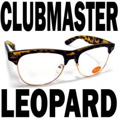Clubmaster Rame MARO imprimeu LEOPARD, Unisex, Transparent, Ovali, Metal, Protectie UV 100%