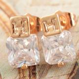 Cercei deosebiti aur filat 9k cu zirconiu, CW7 - Cercei cu diamante