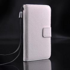 Husa protectie piele de bovina iPhone 4 / 4s lux, tip flip cover portofel, alba