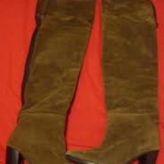 Cizme ZARA din piele lungi peste genunchi - Cizme dama, Marime: 36, Culoare: Maro, Maro
