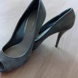 Pantofi dama zara de piele, Marime: 40, Culoare: Argintiu, Argintiu