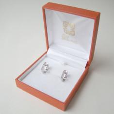 CERCEI AUR ALB SI BRILIANTE - Cercei cu diamante