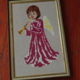 tablou rama lemn - Goblen - inger cu trompeta !!!