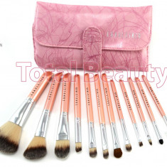 Pensula make-up - Trusa pensule machiaj profesionale 12 pensule Pink Premium Fraulein Germania
