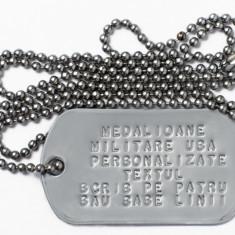 Dog Tag original simplu U.S.Army scris cu textul dorit PLATA RAMBURS, inox