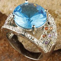 Inel din argint 925 placat cu aur si london blue topaz, marime 8 - Inel argint