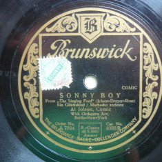 Disc gramofon Brunswick - Sonny Boy / There's a rainbow'round my shoulders - Al Jolson
