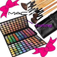 Trusa machiaj profesionala 180 culori MAC + set 15 pensule machiaj make up Bobbi Brown par natural + fond de ten + trusa blush - Trusa make up