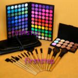 Trusa machiaj profesionala 120 culori MAC + set 15 pensule machiaj make up Bobbi Brown par natural + fond de ten concealer paleta fard farduri - Trusa make up