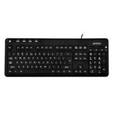 Tastatura iluminata A4Tech KD-126-2, USB, X-Slim LED white BlackLight, negra, Gaming, Cu fir