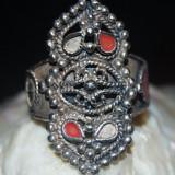 Inel antic argint 835 model lucrat manual lat cu filigran si email superb unicat!!! marime mica - Inel argint