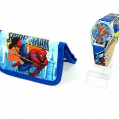 Ceas copii Disney - Set ceas de mana si portofel Spiderman