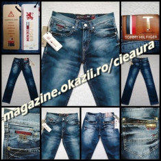 Blugi barbati Tommy Hilfiger, Lungi, Prespalat, Drepti, Normal - BLUGI PRESPALATI BARBATI firma TOMMY HILFIGER DENIM made in USA 98% BBC ORIGINAL