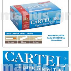 Cartel CARBON DUAL Filter 20 mm - 10 cutii tuburi de tigari multifiltru, tutun - Foite tigari