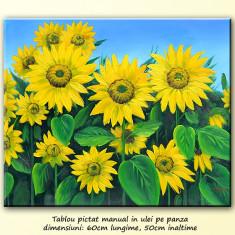 Tablou - Pictura cu floarea soarelui (1) - ulei pe panza 60x50cm, livrare gratuita 24-48h