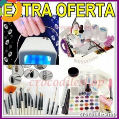 KIT SET Unghii false BeautyUkCosmetics GEL UV MANICHIURA, LAMPA UV 36 W+NEOANE