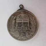 #95 1 Korona Ungaria 1915 , moneda de argint , agatatoare , veche. Pandativ vechi provenit dintr-o salba , (Corona Coroana )