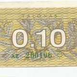 LL bancnota Lituania 0.10 talonas 1991 (#0106)