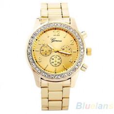 Ceas de Dama Geneva - Ceas dama auriu gold GENEVA curea metalica cristale + cutie simpla cadou