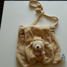 Ghiozdan pentru copii, posetuta pentru fetite cu ursulet, moale si pufos - Rucsac Copii