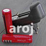Lanterna - Set 2 Baterii Acumulator 3, 7 V Li-ion 4800 mAh 18650 + incarcator priza