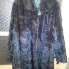 Palton dama, Antracit, S/M, Piele - Blana nurca veritabila
