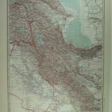 HARTA VECHE - ARMENIA - MESOP0TANIA - PERSIEN - DIN STIELERS HAND ATLAS - ANUL 1928 - EDITOR GOTHA JUSTUS PERTHES - DR.H.HAACK