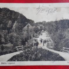 Vedere/Carte postala - Baile Lipova - Vedere din parc - circulat - Carte Postala Crisana dupa 1918