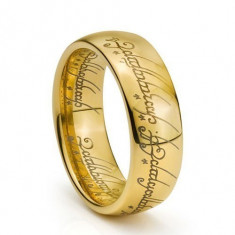 Inel LORD OF THE RINGS placat cu aur 18K pe structura 316L Stainless Steel+cutie - Inel placate cu aur