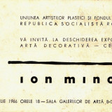 Carte vizita expozitie 1966 maestrul Ion Minoiu - Pictor roman