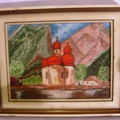 Tablou vechi pictat pe panza cu ulei cu rama din lemn cu biserica 30cm/24cm - Tablou autor neidentificat, Peisaje, Ulei, Altul