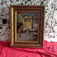 Tapiterie Goblen - Frumos goblen cu rama din lemn aurita - Scena Romantica !!!