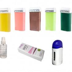Kit epilare - Aparat Incalzit ceara cu 5 Rezerve ceara, Ulei epilare si 100 Benzi pentru Epilat - Ceara epilare