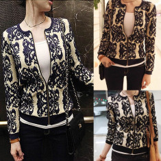 Jacheta blaizer pulover MANGO by zara sacou scurt casual office S26, alba cu imprimeu bleumarin sau negru, fermoar, nou cu eticheta de hartie - Jacheta dama Zara, Marime: S, Bumbac