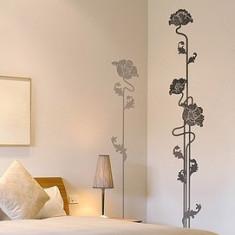 Sticker - autocolant decorativ pentru perete, model coloane flori stilizate alb-negru