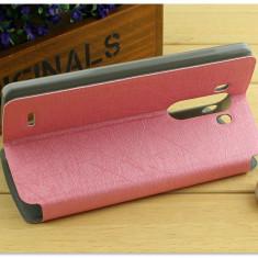Husa LG G3 piele eco premium roz model subtire - Husa Telefon LG, Piele Ecologica, Cu clapeta