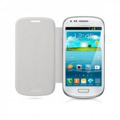 Husa Eleganta Toc Flip Cover Samsung Galaxy S3 MINI i8190 + Folie Protectie - Husa Telefon Samsung, Alb, Piele Ecologica, Cu clapeta