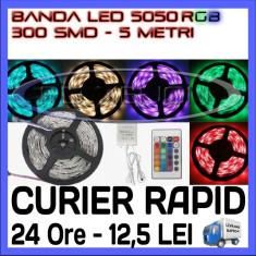 Iluminat decorativ ZDM - ROLA BANDA 300 LED - LEDURI SMD 5050 RGB - 5 METRI, IMPERMEABILA (WATERPROOF), FLEXIBILA - CONTROLER SI TELECOMANDA INCLUSE