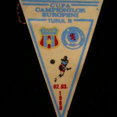 Fanion fotbal - PENTRU UN FAN STEAUA BUCURESTI - FANION - STEAUA BUCURESTI - RANGERS FOOTBAL CLUB - CUPA CAMPIONILOR EUROPENI 02 MARTIE 1988